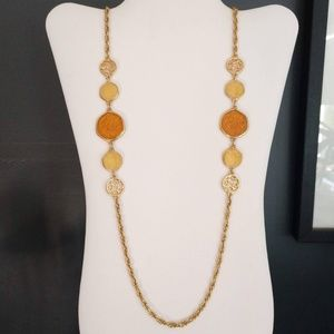 Orange, yellow and gold long necklace